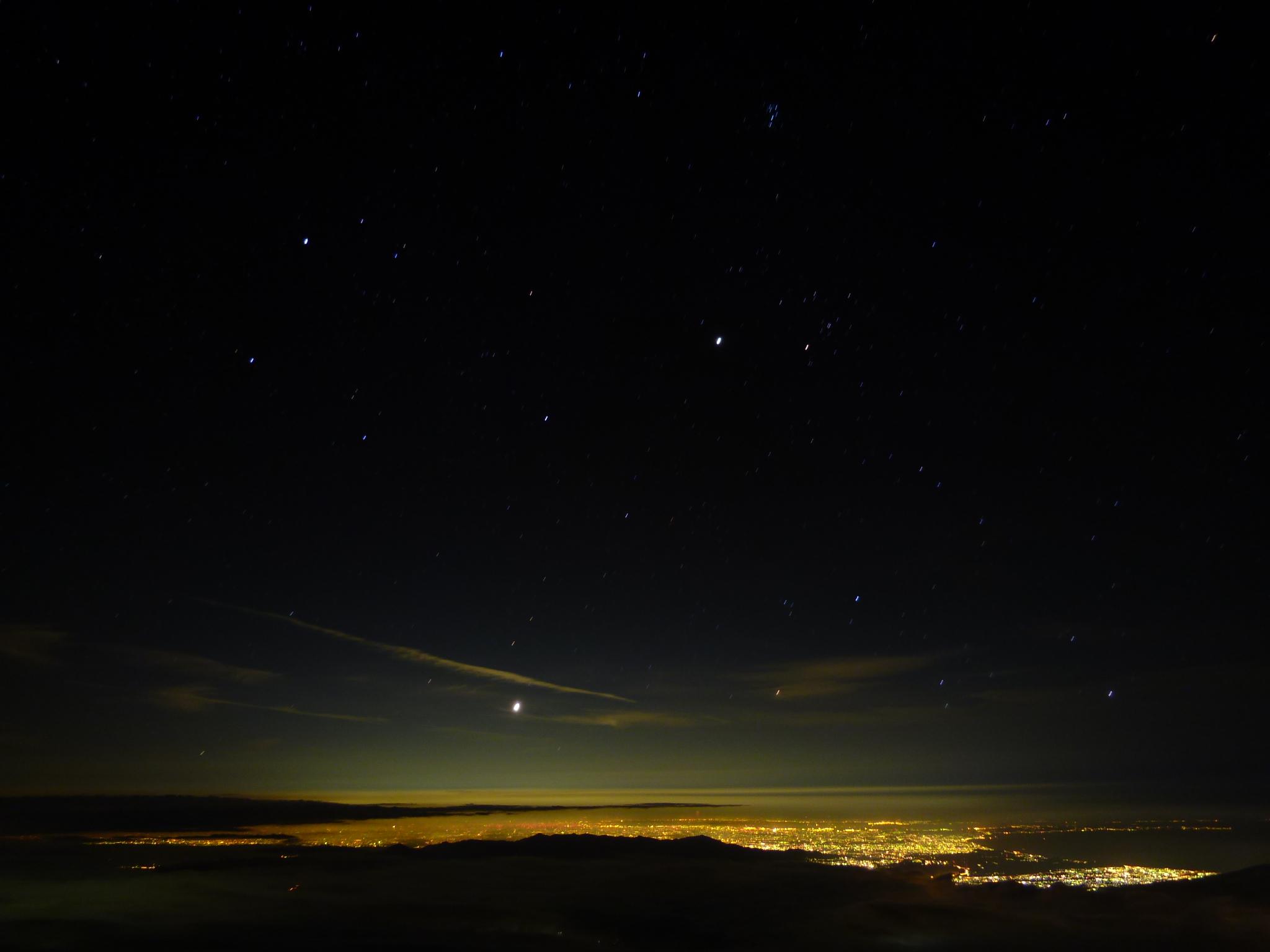富士登山での夜景